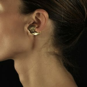 gold plated skin-textured clip earring