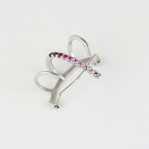 White gold clip earrijg with pink sapphires