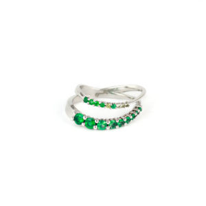 18K white gold ring with Emeralds in 2 rows